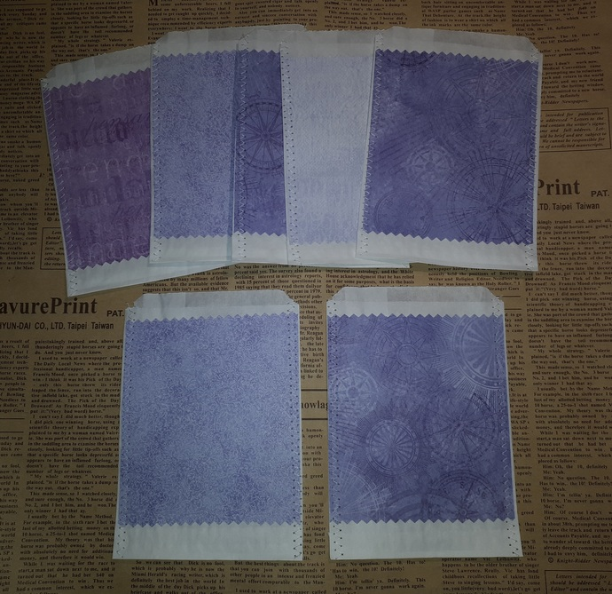 HM134 (2 Pieces) Machine Stitched White Candy Bags with Paper Shades of Purple
