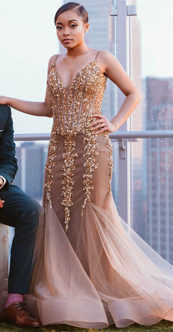 a3716097ef8d Charming Champagne Mermaid Prom Dress, Sexy | fancygirldress