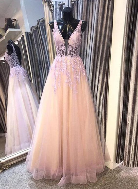 Charming V neck Tulle Appliques Homecoming Dress, Elegant Long Prom Dress