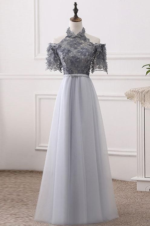 Charming Grey Lace Evening Party Dress, Short Sleeve Homecoming Dress, Sexy Long