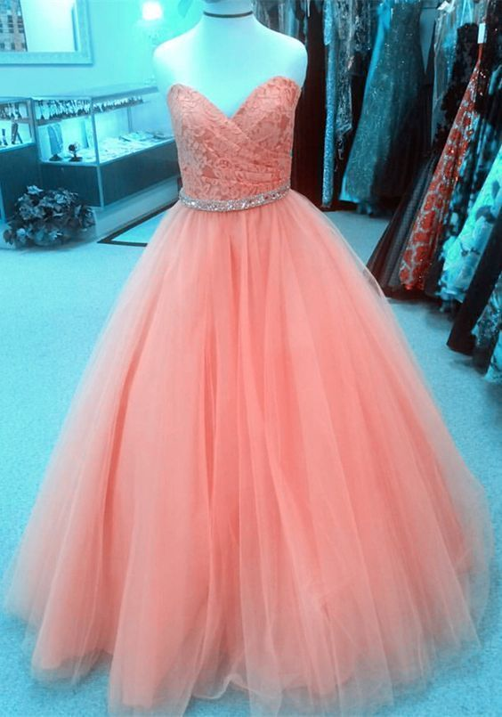 Charming Tulle Appliques Pink Ball Gowns, Elegant Long Prom Dresses, Sweet 16