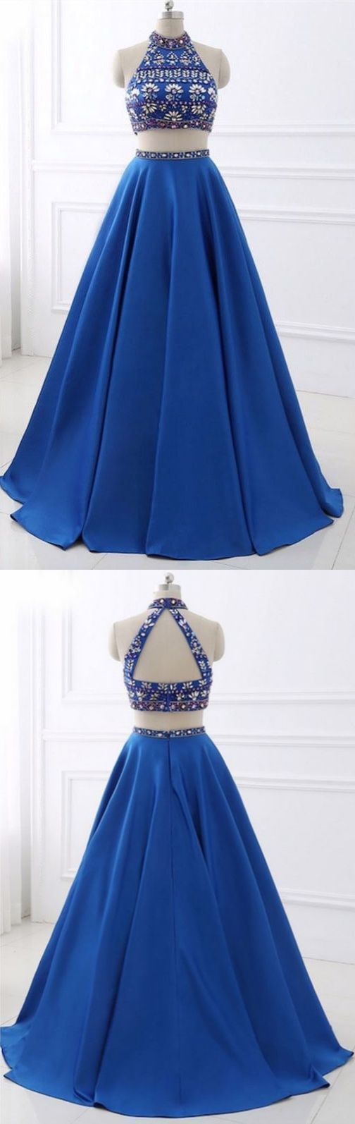 Elegant Blue Two Piece Prom Dresses, Halter Homecoming Dress, Long Evening Dress