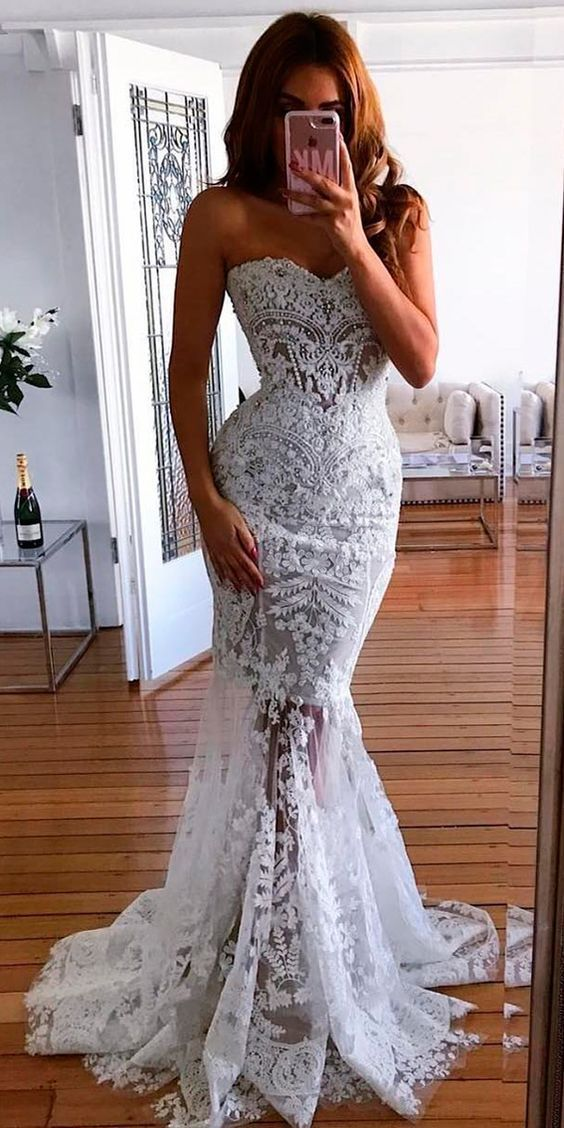 Charming Appliques Lace Mermaid Wedding Dress, Sexy Tulle Bridal Gowns