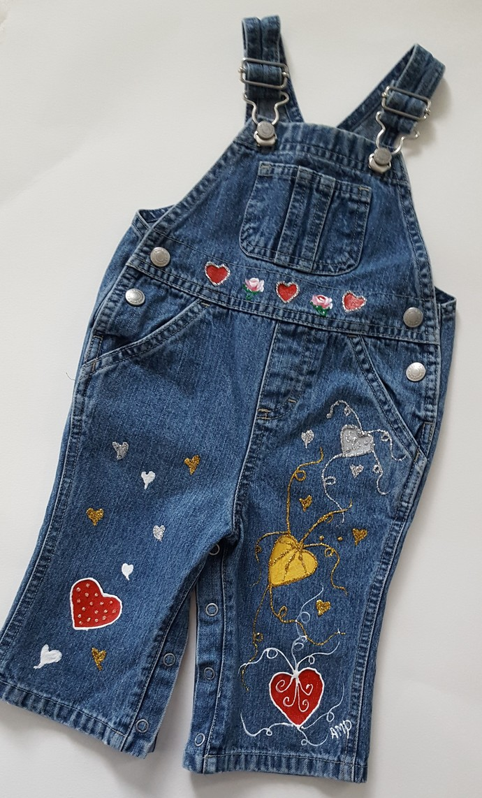 Baby's Denim Overalls, Upcycled Hand Painted to Show Your Love, Hearts, Rosebuds