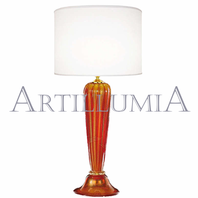 Murano glass red and 24k gold table lamp