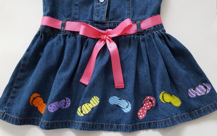 Girl's Denim Dress, Upcycled Hand Painted for Summer Fun, Colorful Flip Flops,