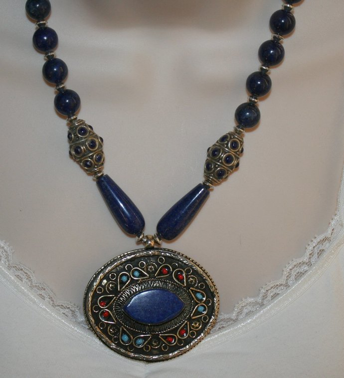 Nepalese Lapis Pendant Statement Necklace, Tribal Handmade Indonesia Beads,