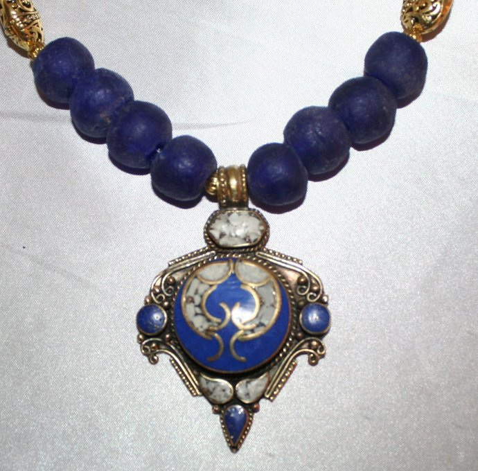 African Recycled Cobalt Blue Glass Statement Necklace, Inlaid Afghani Lapis