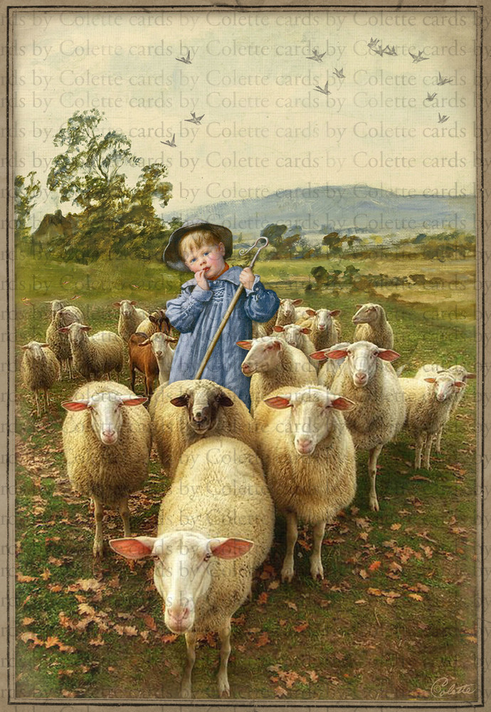 Boy and Sheep Digital Collage Greeting card2147