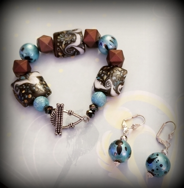 Chocolate Turquoise Delight Bracelet and Earring Set