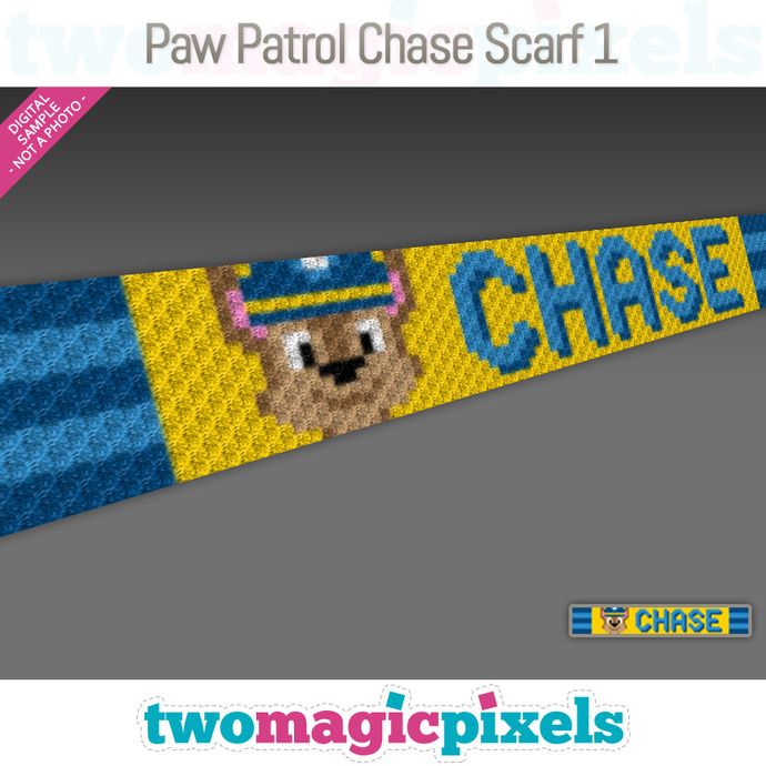 [C2C] Paw Patrol Chase Scarf 1; crochet graph + row-by-row counts; instant PDF