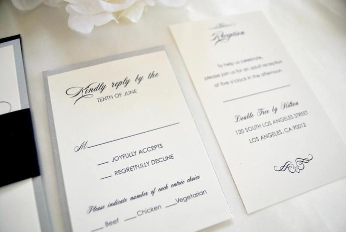Navy Blue and Silver Laser Cut Monogram Wedding Invitation- Elegant Script Gray,