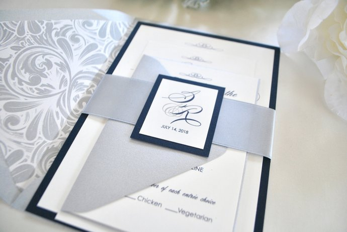 Navy Blue and Silver Wedding Invitation -Elegant Script -Gray, Champagne, Gold,