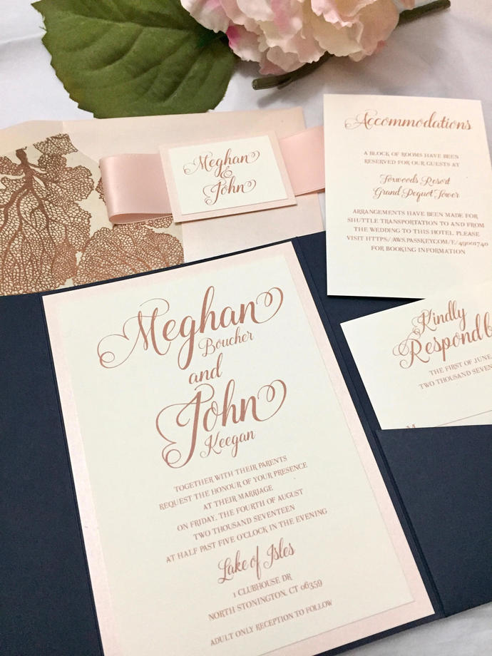 Rose Gold Navy Blue Pocket Wedding By Out The Box Creative On Zibbet