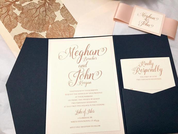 Rose Gold Navy Blue Pocket Wedding Invitation, Blush Wedding invite, Pocket