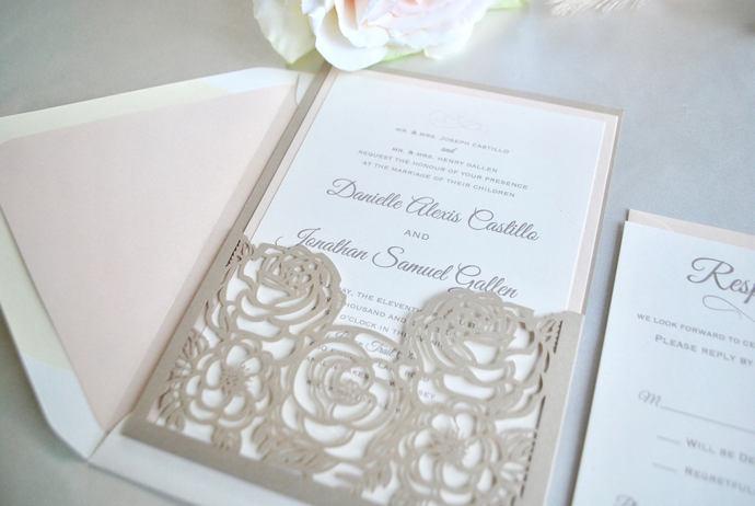 Blush and Champagne Laser Cut Wedding Invitation, Floral Laser Cut Pocket, Gold,