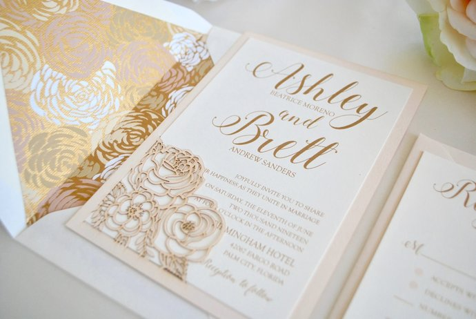 Blush and Gold Floral Laser Cut Wedding Invitation, Rose Gold, Dusty Rose,