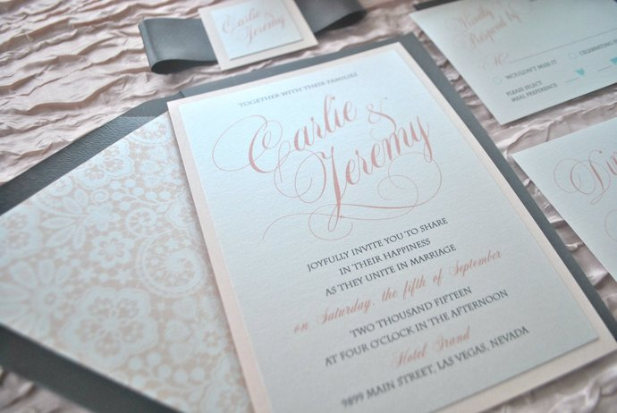 Blush and Dark Grey Wedding Invitation, Dusty Pink, silver, charcoal, navy,