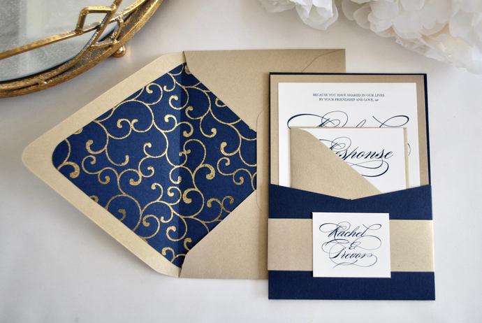 Navy Blue, Gold Pocket Wedding Invitation, Pocket Invite, Burgundy, Dreamy,