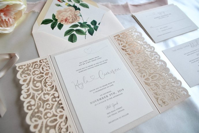 Blush Laser Cut Wedding Invitation By Out The Box Creative On Zibbet