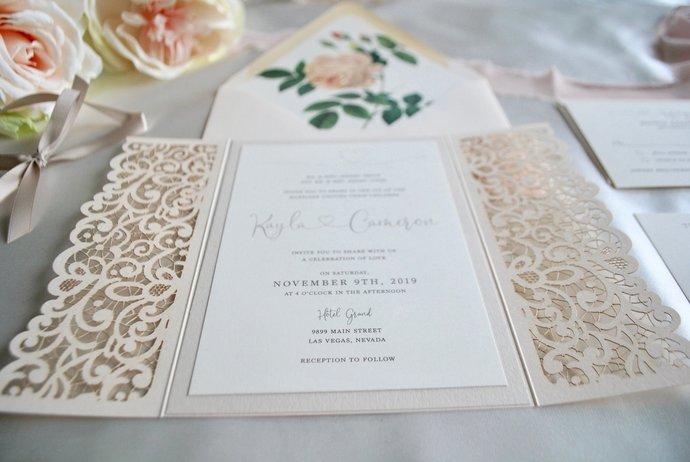 Blush Laser Cut Wedding Invitation, Lace Gate Fold Lasercut Invite, Blush