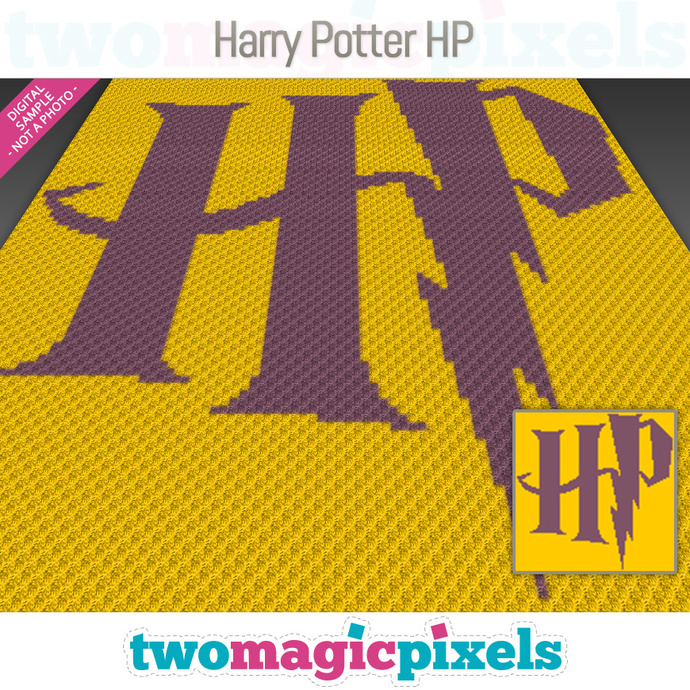 Harry Potter HP crochet graph (C2C, Mini C2C, SC, HDC, DC, TSS), cross  stitch