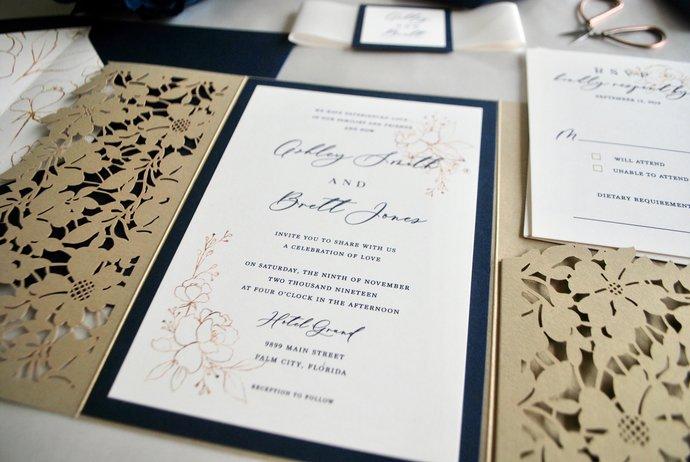 Gold Laser Cut Pocket Wedding Invitation, Gold Navy Blue Invitation, Gold Floral