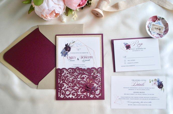 Burgundy Laser Cut wedding Invitation, Floral Geometric Frame Wedding