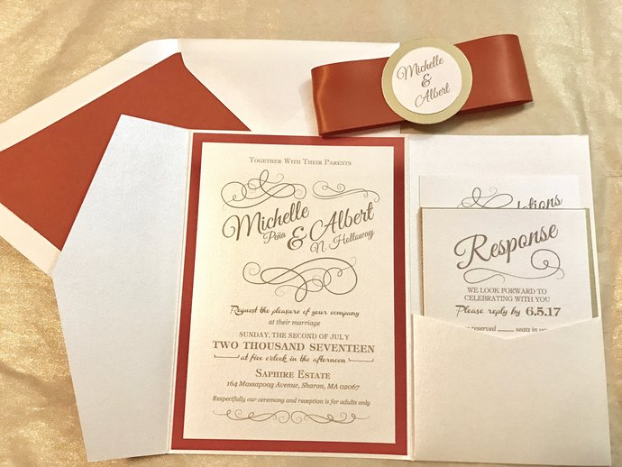 Rust Orange and Gold Foil Classy Pocket Wedding Invitation- Fall, Autumn, Navy,