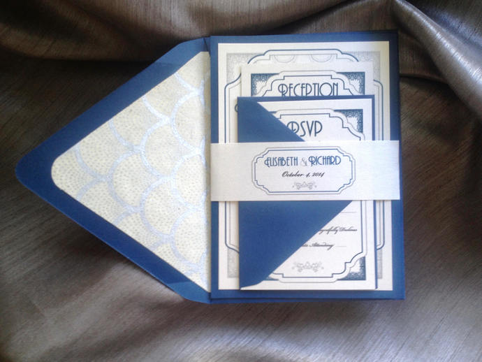 Great Gatsby Navy Blue and Silver wedding Invitation  burgundy, gold, blush