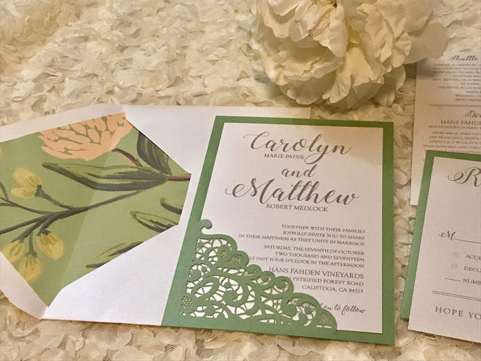 Green and ivory Lace Laser Cut Wedding Invitation, Laser Cut Invitation,