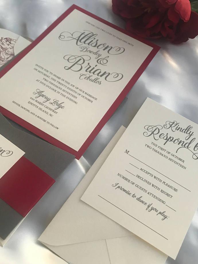 Grey, Marsala Pocket Wedding Invitation,  Burgundy Silver Wedding invitation,