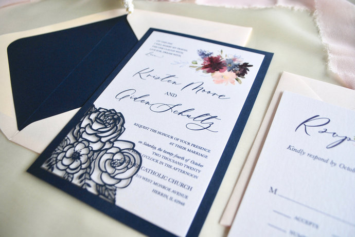 Navy Blue Laser Cut Wedding Invitation- Burgundy Floral Laser Cut Invitation,
