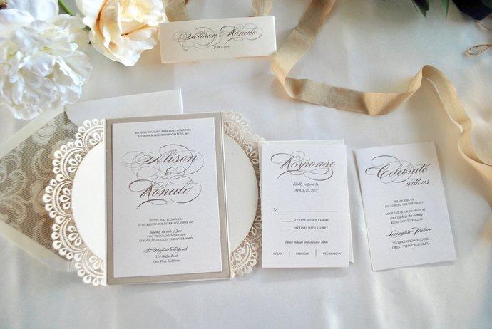 Ivory, Champagne Laser Cut Wedding Invitation, Gate Fold Lasercut Invite, Lace