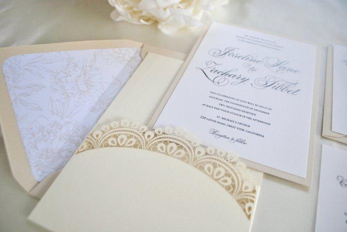 Ivory Champagne Laser Cut Pocket Wedding Invitation, Doily Lasercut invitation-