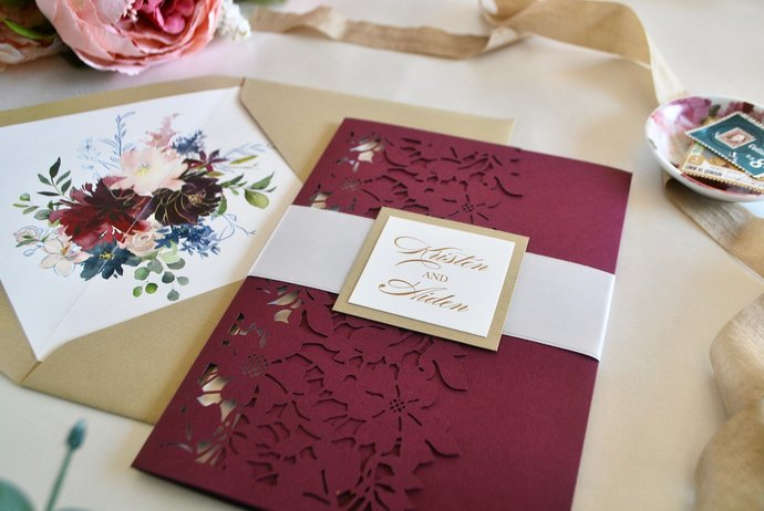 Burgundy Laser Cut Pocket Wedding Invitation, Burgundy Floral Invitation,