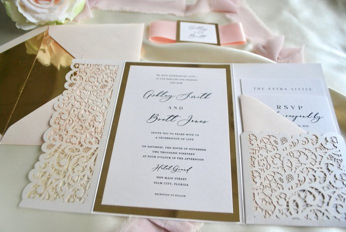 Blush Lace Laser Cut Pocket Wedding Invitation, Ivory Foil Laser Cut invitation,