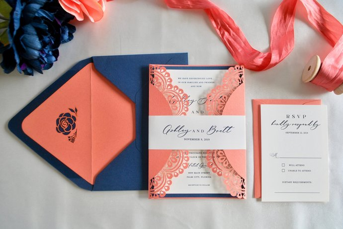 Coral navy blue Laser Cut Wedding Invitation, Gate Fold Lasercut Invite, Lace