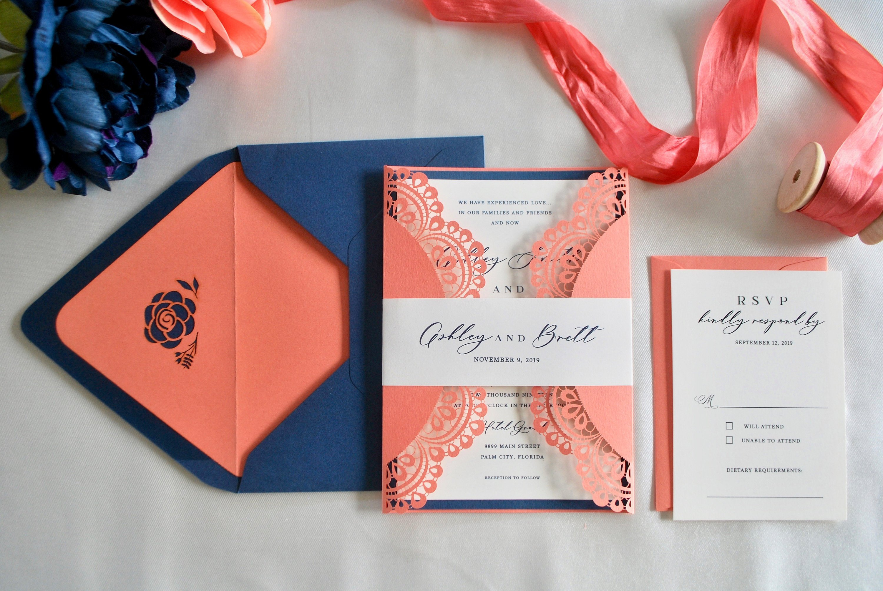 Coral Navy Blue Laser Cut Wedding By Out The Box Creative
