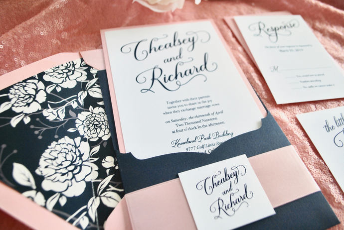 Navy Blue, Pink Wedding Invitation Laser Cut Pocket- Pretty Pink  Color/wording
