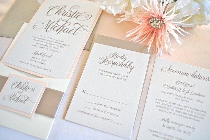 Blush, Ivory, Champagne Pocket Wedding Invitation, Blush Wedding invite, Dusty