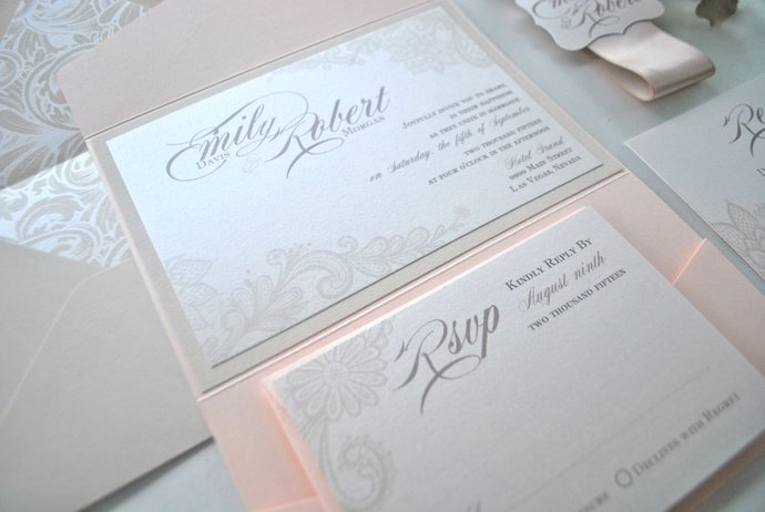 Blush Champagne Lace Pocket Wedding Invitation, Blush Gold wedding invite, Lace