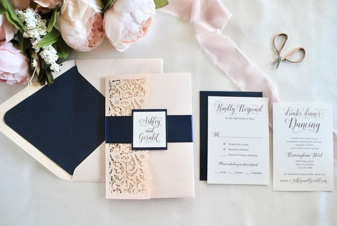 Blush Lace Laser Cut Pocket Wedding Invitation, Navy Blue Laser Cut invitation,