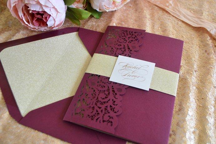 Burgundy Gold Glitter Laser Cut Pocket Wedding Invitation, Laser Cut invitation,
