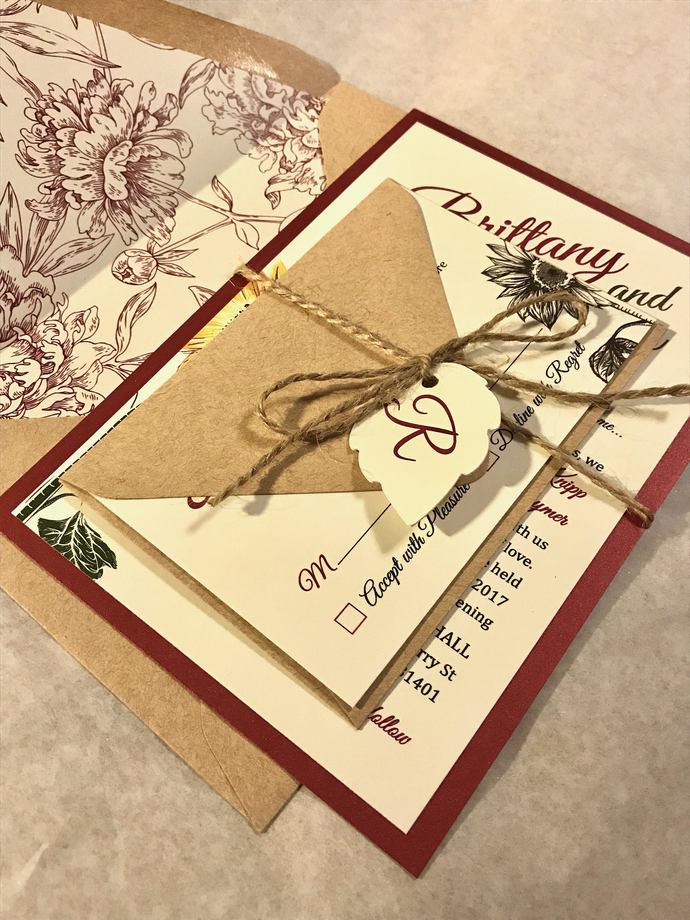 Burgundy Sunflower Wedding Invitation (not a sample listing)