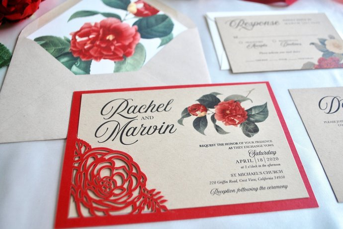 Boho wedding invitation, Floral Laser Cut wedding invitation, Botanical wedding