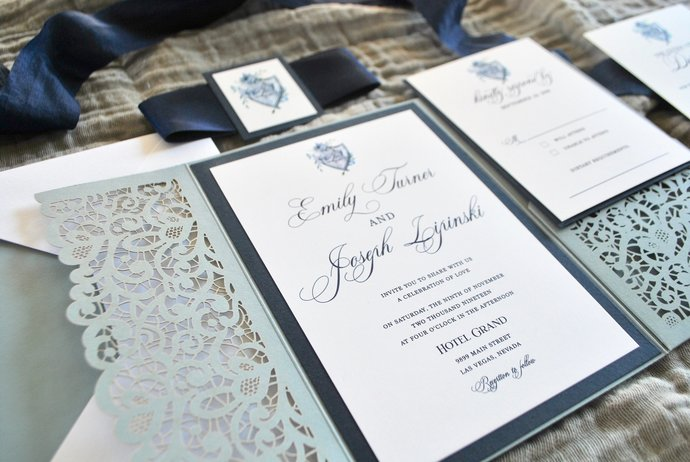 Dusty Blue Wedding Invitation, Laser Cut pocket wedding invitation, Lace