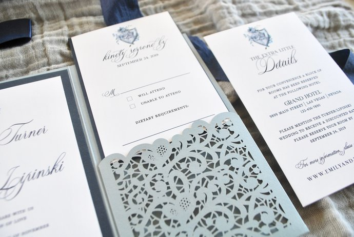 Dusty Blue Wedding Invitation, Laser Cut pocket wedding invitation, Lace
