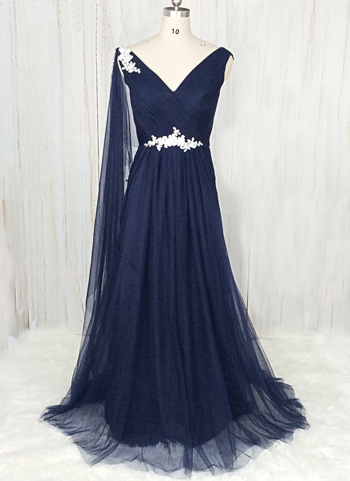 0c94aa8169 Simple Navy Blue Tulle V Neck Long Prom Dress