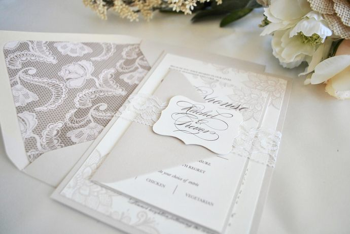 Lace Ivory, Champagne Wedding Invitation, Rustic Elegance- Lace wedding